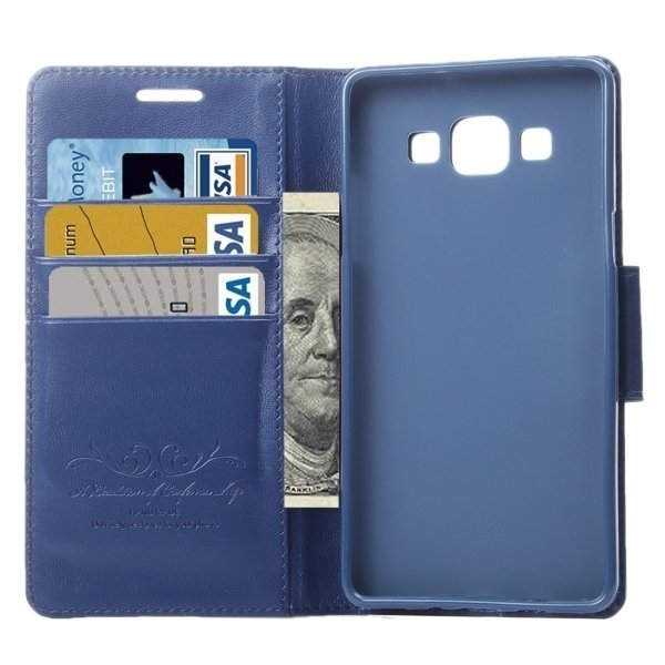 TPU PU Flip Leather Cross Texture Horizontal Cover with Card Slots Wallet Holder for Samsung Galaxy A8 / A800 (Dark Blue) (Intl)