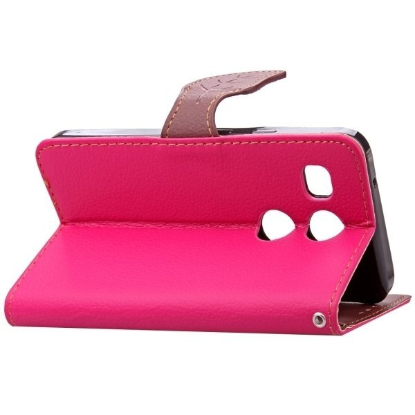 TPU PU Flip Leather Horizontal Cover with Card Slots Wallet Holder for Google Nexus 5X (Magenta) (Intl)
