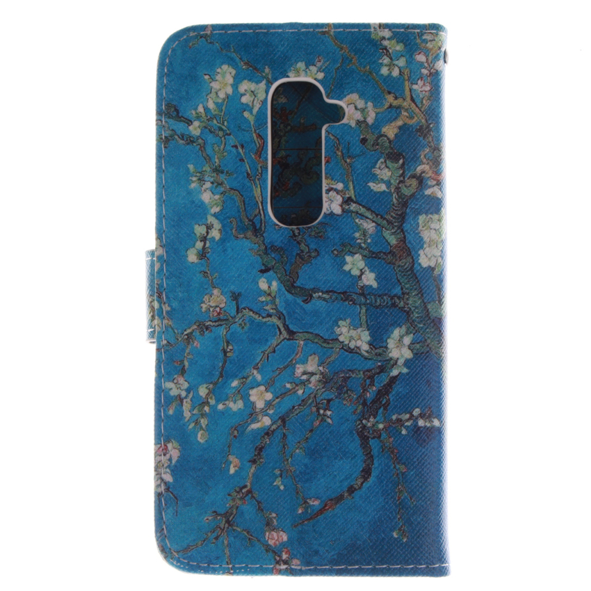 Trees Double Painting Filp Leather Cover Built in Card Slot for LG G2 (Blue) (Intl)