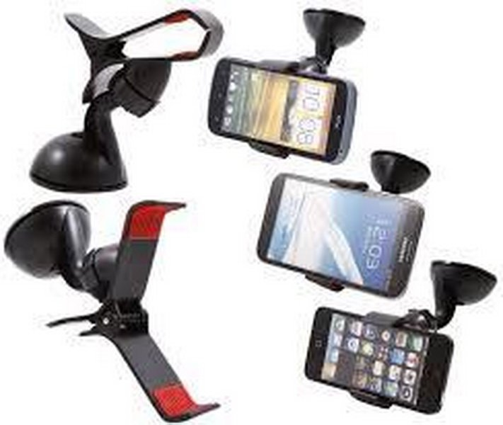 Trend's Car Holder 360° Rotating Universal Windshield Mount Stand Dudukan Free 2 pcs Car Charger Mobil - Hitam