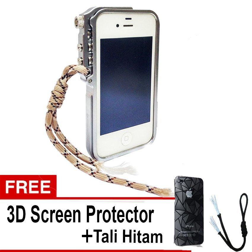 Trigger Bumper for Iphone 4 4S Premium Case - Silver + Gratis 3D Screen Protector + Tali Hitam