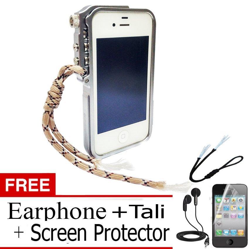 Trigger Bumper for Iphone 4 4S Premium Case - Silver + Gratis Screen Protector + Tali Hitam + Earphone