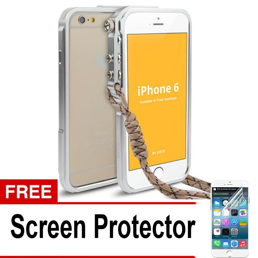 "Trigger Bumper for Iphone 6 6S Plus 5,5"" Premium Case - Silver + Gratis Screen Protector"