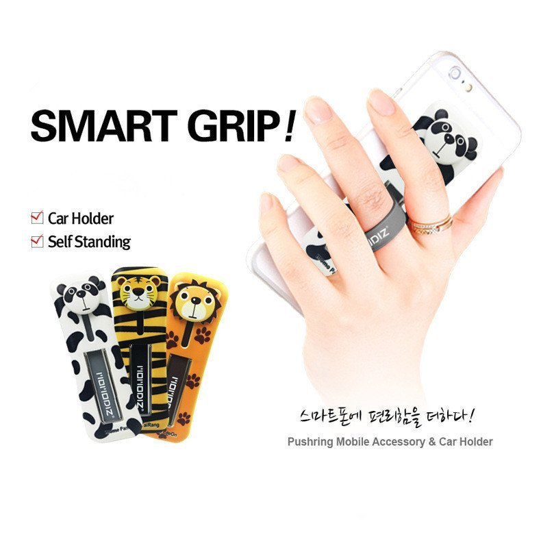 U-shaped Phone Paste Silicone Smart Grip Car Cradle Holder Set for All Phone (White) (Intl)