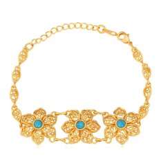 U7 Turquoise Flower Chain Bracelet For Women 18K Real Gold Plated Fashion Jewelry Gold Bracelet (Gold) (Intl)