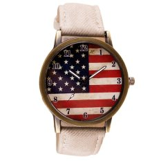 UJS American Flag Pattern Leather Band Analog Quartz Vogue Wrist Watches White (Intl)