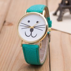 UJS Cat Face Pattern Leather Band Analog Quartz Vogue Wrist Watches Green (Intl)