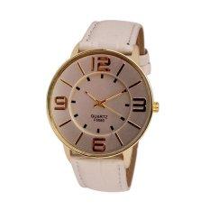 UJS Fashion Numerals Gold Dial Womens White Leather Quartz Wrist Watch