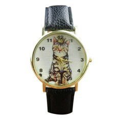 UJS Neutral Diamond Lovely Cats Face Faux Leather Quartz Watches Black