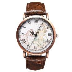 UJS Women Earth Map PU Leather Brown Quartz Analog Wrist Watch (Intl)