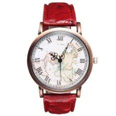 UJS Women Earth Map PU Leather Red Quartz Analog Wrist Watch (Intl)