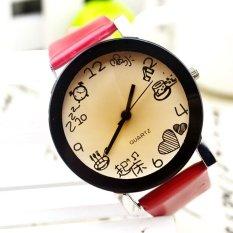 UJS Women Girls Fuax Leather Strap Round Dial Quartz Wrist Watch Red