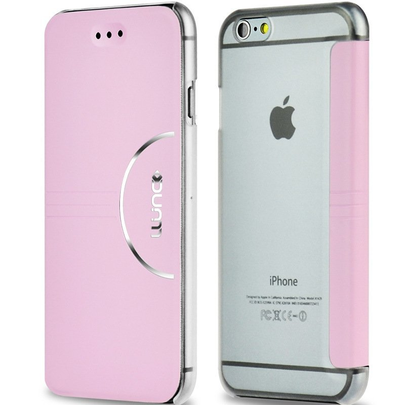 Ultra Thin Fashion Flip PC + Pu Leather Case Cover For iPhone 6 Plus 5.5'' Pink