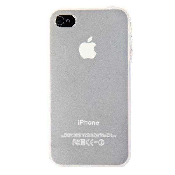 Ultra Thin Silicone Case Cover with Screen Protector and Stylus for iPhone 4 4s White