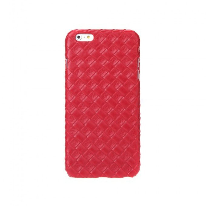 Ultrathin Lightweight Plastic Fashion Shell Case Protective Back Cover for iPhone 6 Plus Quilt Rhombus Red
