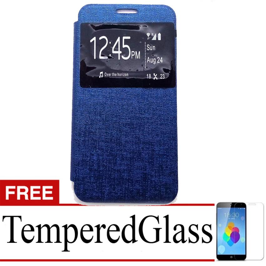 Ume Flip Cover for Lenovo P1M- Biru Dongker + Gratis Tempered Glass