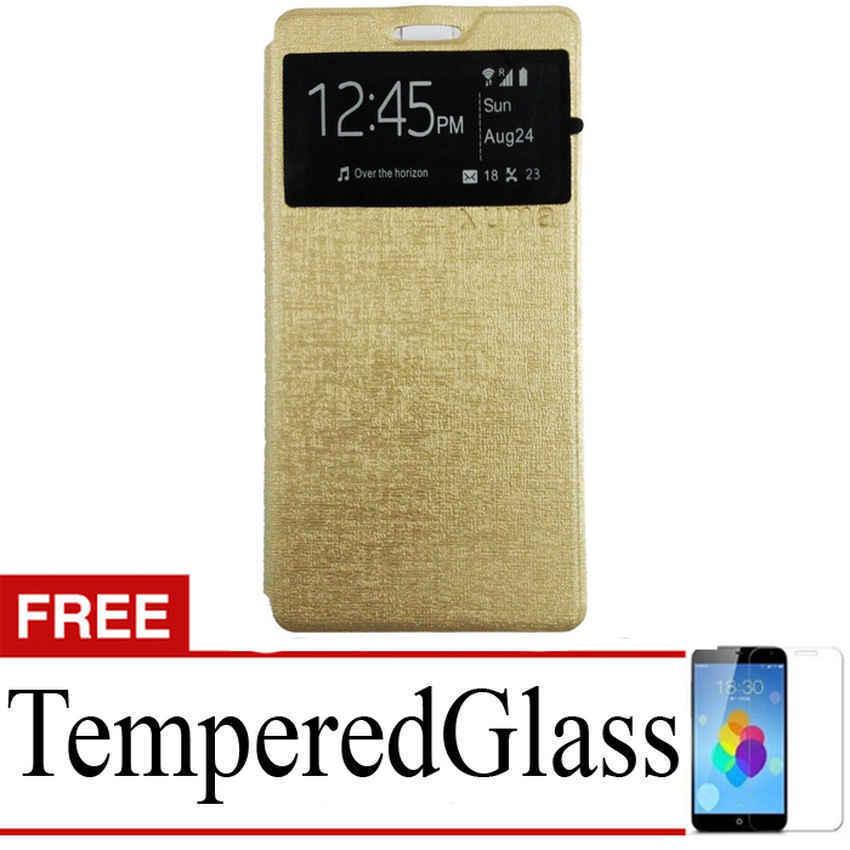 Ume Flip Cover for Lenovo P1M - Emas + Gratis Tempered Glass