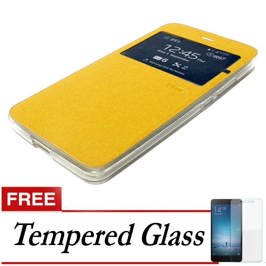 Ume Flip Cover untuk Huawei P8 Lite - Emas + Gratis Tempered Glass