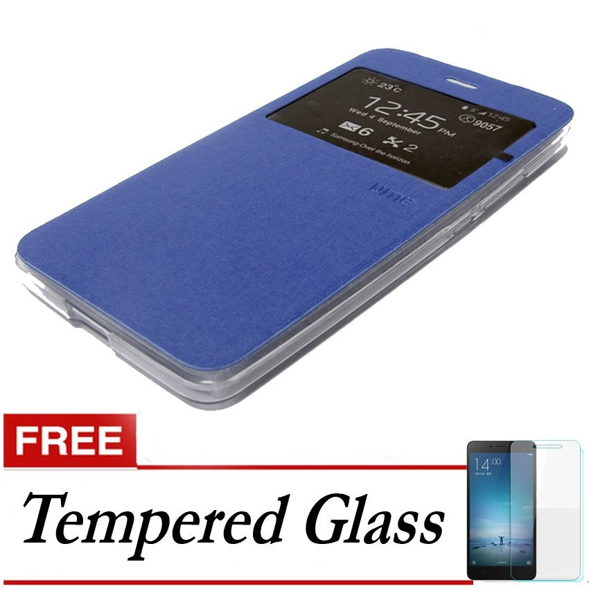 Ume Flip Cover untuk Meizu Mx5 - Biru + Gratis Tempered Glass