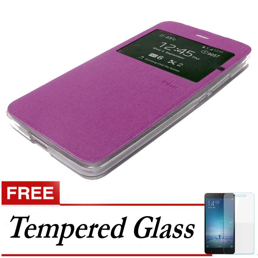 Ume Flip Cover Untuk Oppo F1- Ungu + Gratis Tempered Glass