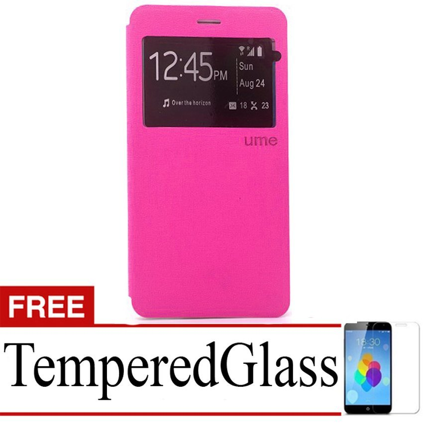 Ume Flip Cover untuk Samsung Galaxy J7 - Pink + Tempered Glass