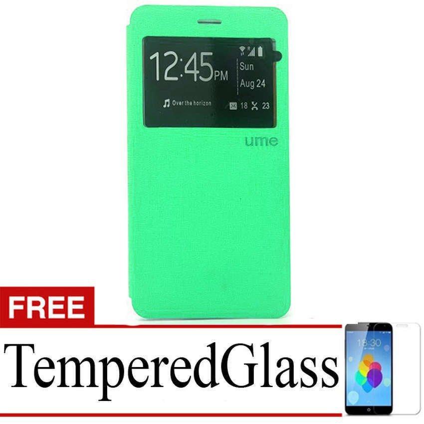 Ume Flip Cover untuk Sony Xperia Z5 Plus - Hijau Tosca + Gratis Tempered Glass