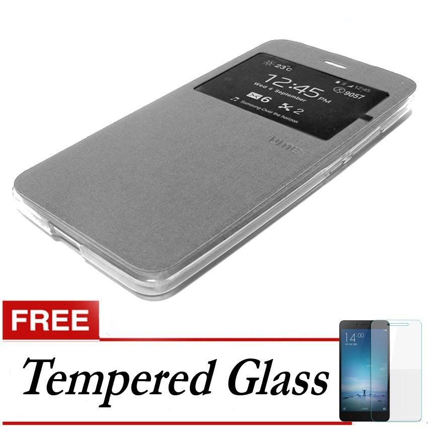 Ume Flip Cover untuk Vivo Y37 - Silver + Gratis Tempered Glass
