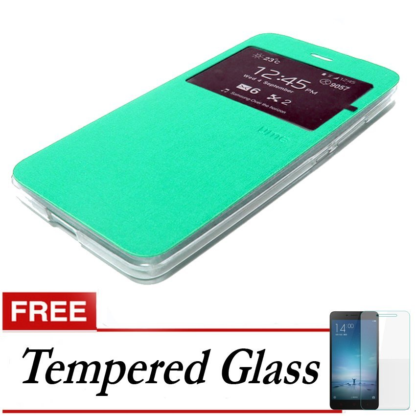 Ume Flip Cover ZTE Blade A711 - Hijau Tosca + Gratis Tempered Glass