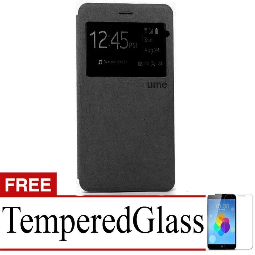 Ume flip Cover ZTE Blade A711 - Hitam + Gratis Tempered Glass