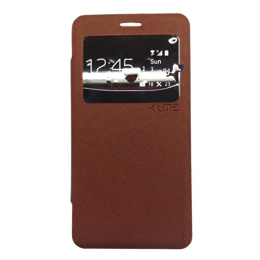 Ume For Samsung Galaxy A7 A700 Flipcase Flipshel Flipcover Casing Lather Case Flip Cover - Coklat