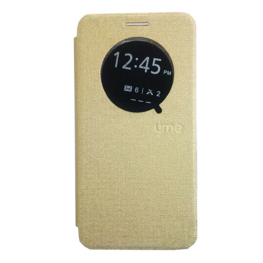 Ume Leather Case View Asus Zenfone 6 - Gold