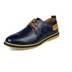 UNC 2016 New Style Spring Tide Men's Leather Shoes Cow Leather Male British Style Business Casual Shoes -Blue - Intl