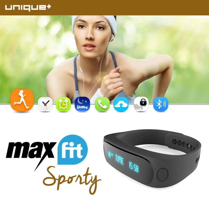 Rubber Black Source UNiQue Smartwatch Bracelet MaxFit Sporty For IOS And Android