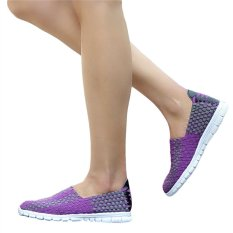 Unisex Fashion Casual Lovers Breathable Sneaker Shoes Woven Leisure Shoes For Running (Purple, 42) - INTL