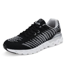 Unisex Shoes Men Fashion Air Mesh Sneakers Women Casual Shoes Youth Lovers (Black White) - INTL