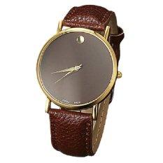 Unisex Women Man Round Dial Watch Round Dot Leather Strap Band Quartz Wristwatch Business Fashion Style Watches Gold&Brown