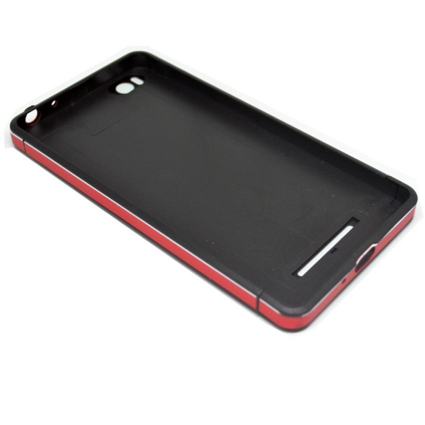 Universal Aluminium Tempered Glass Hard Case for Xiaomi Mi4i - Hitam/Merah