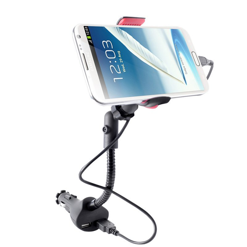 Universal Car Charger Holder Dual USB Charger For Iphone 6 5 5s Samsung Galaxy Note GPS PAD Support Mobile Phone Mount Stand