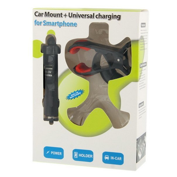 Universal Car Mount + USB Car Charging for Samsung Galaxy S IV / S III / Ace 3 / Note III / Note II, DC 5V / 1.5A, Support 360 Degree Rotation
