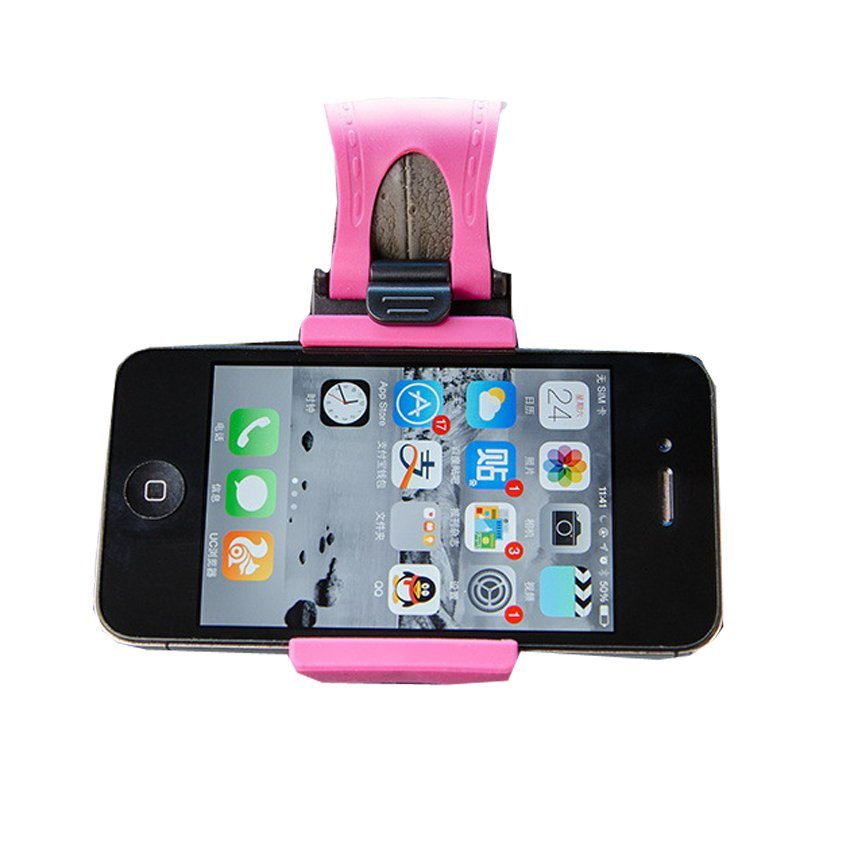 Universal Car Steering Wheel/Bike Handlebar Clip Mount Holder Stand Cradle Pink (Intl)