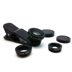 Universal Clip Lens 3 in 1 - Fish Eye 180 + Macro + Wide 0.67x - Hitam