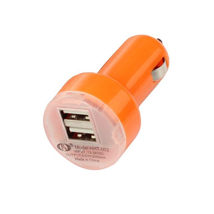 Universal Dual Double USB Port Car Charger Adapter For Samsung Apple HTC Nokia (Orange)