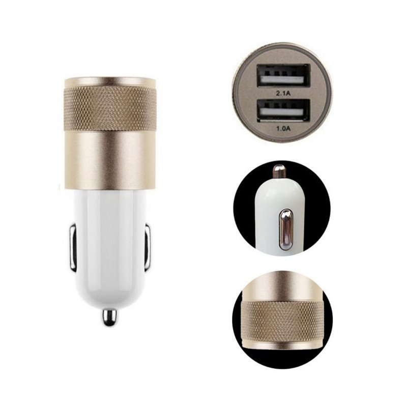 Universal Dual USB Car Charger 12V 2A Aluminum 2 USB Ports For iPhone For iPad For Android Smart Phone(Gold) (Intl)