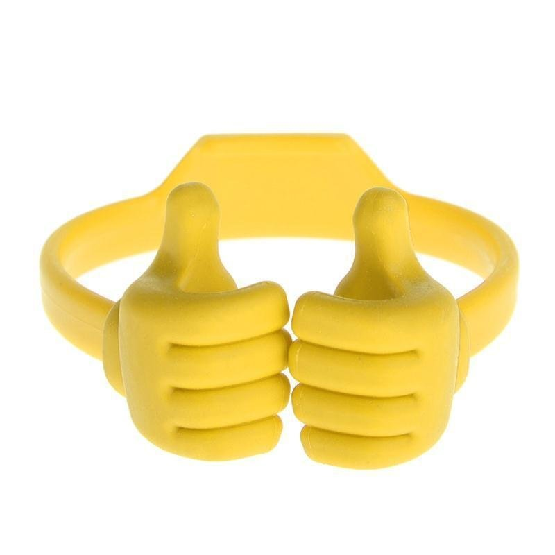 Universal Thumb Desktop Phone Holder Stand Bracket Mount(Yellow)