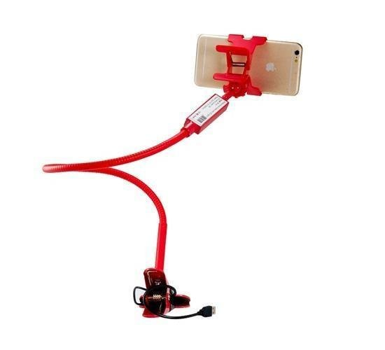 Universal ZK-N1 Flexible Mobile Phone/Tablet PC Mount Holder with Clip & USB LED Lamp (Red) (Intl)