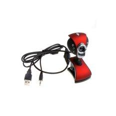 USB 2.0 50.0.6 LEDs PC Camera HD Webcam With MIC For Laptop Desktop (Red&Black) - Intl