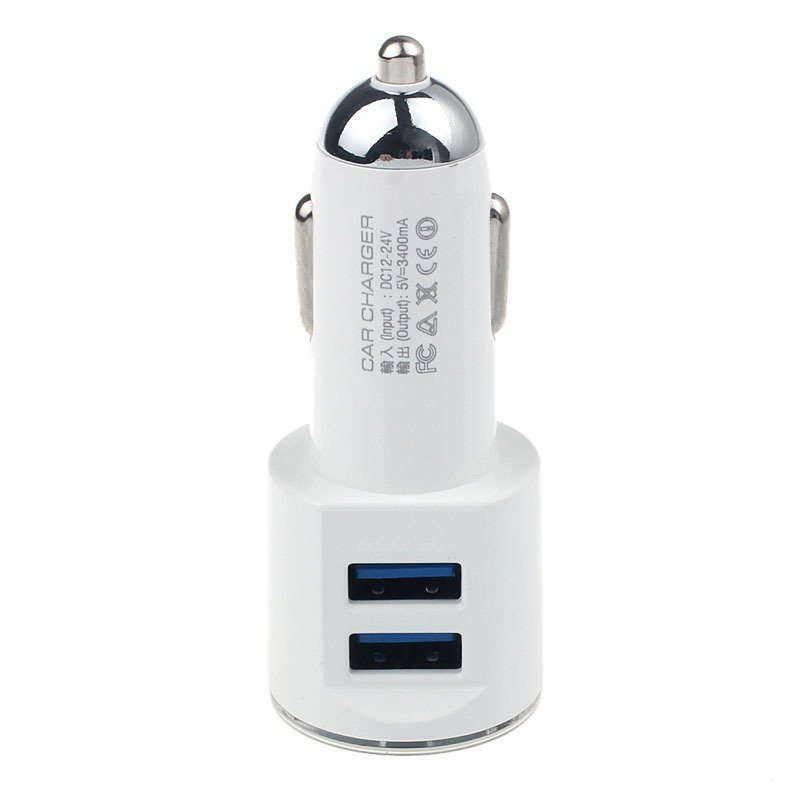 USB Car Charger With IOS USB And Android USB Outputs Fast Charger White
