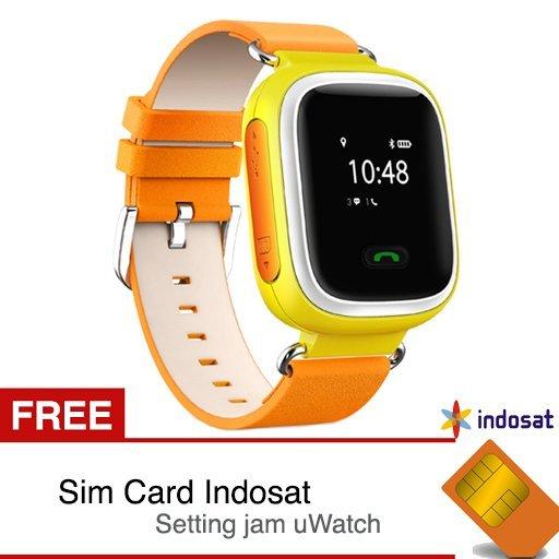 uWatch TINZ - GPS Tracker Smartwatch - Kuning + Gratis Sim Card INDOSAT dan Setting