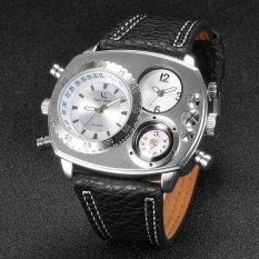 V6 Double Time Military Style Casual Quartz Watch Silver / Black (Intl)