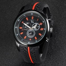 V6 F1 Racing Style Casual Quartz Watch Rubber Band Orange